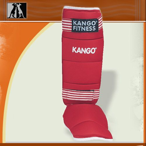 Защита голень-стопа красная, иск. кожа, размер S, артикул 8905, KANGO