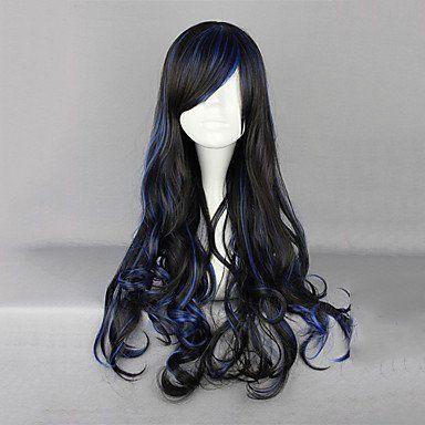 Парик черный с синим Лолита