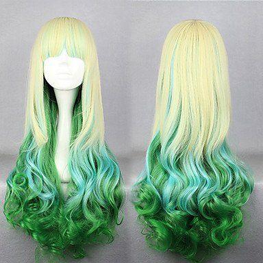 Парик белый с зеленым Лолита