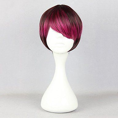 Темно-красный парик с розовыми прядями