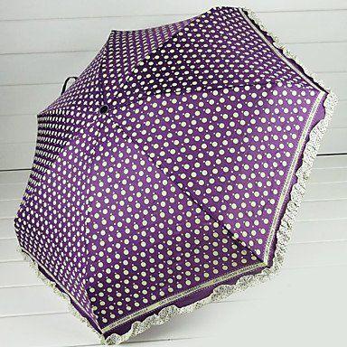 Зонтики в белый крупный горошек