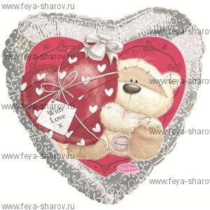 Шар Мишка с сердечком 45 см