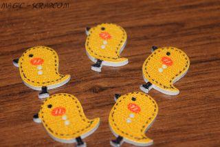 Птички пуговички деревянные светло коричневые