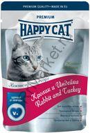 Happy Cat Нежные кусочки в соусе (Кролик и индейка с морковью) 100гр (пауч)