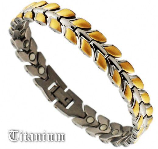 Титановый магнитный браслет STB-0018GSNT-W