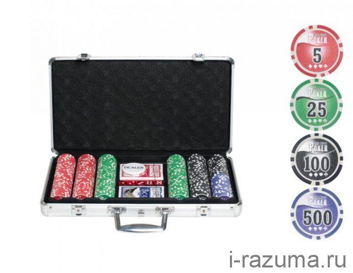 """Набор """"Покер"""" Nuts в алюминиевом кейсе (300 фишек 11,5 г. с номиналом)"""