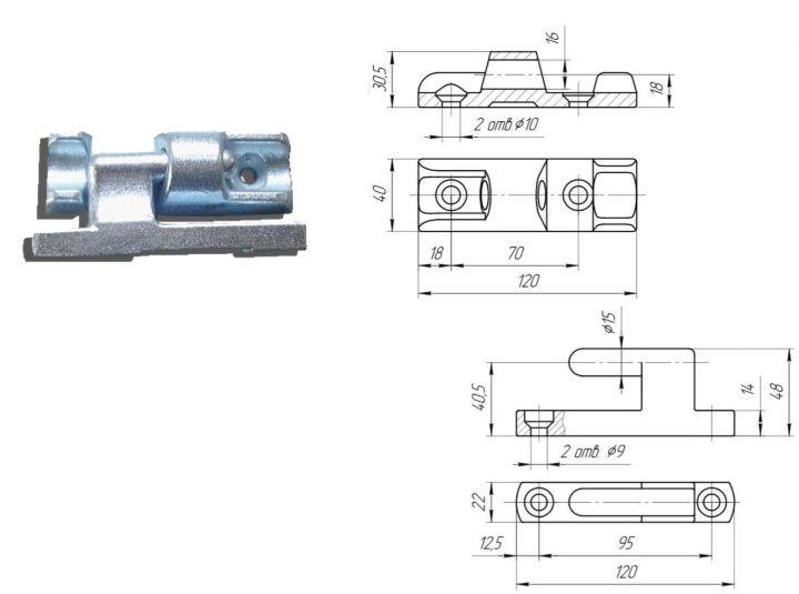 Петля бортовая 120 мм в комплекте с подложкой (Арт: 114310/П)