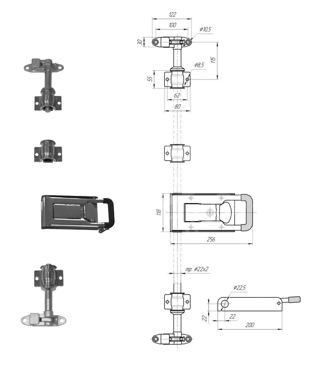 Запор штанговый 22 мм Zn ручка Push (Арт: 25300)