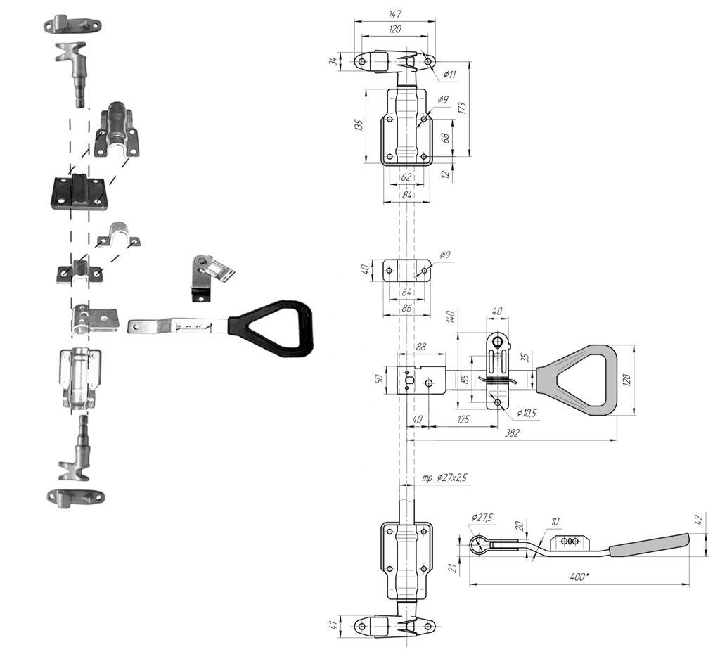 """Запор штанговый 27 мм SS ручка """"Дельта"""" """"Furgocar"""" нержавеющая сталь (Арт: 25715)"""