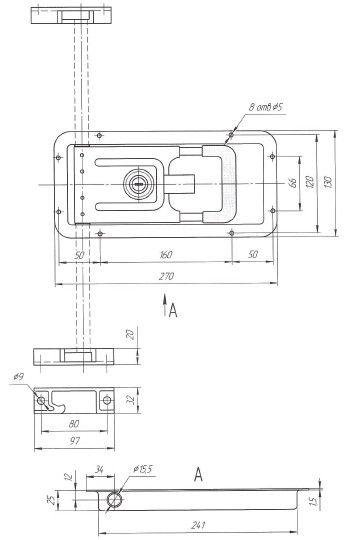 Замок штанговый для ворот врезной под трубу D=15мм (Арт: 01004)