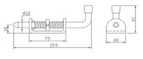 Защелка - фиксатор длина - 159 мм (Арт: 023000)