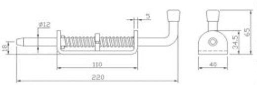 Защелка - фиксатор длина - 220 мм (Арт: 023100)