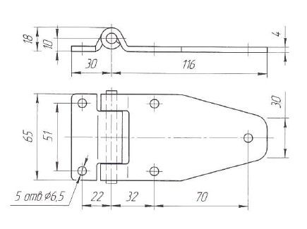 Петля дверей L=116 мм (Арт: 030200S)