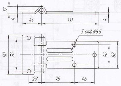 Петля дверей L=142 мм (Арт: 030800S)