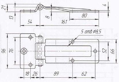 Петля дверей L=161 мм (Арт: 030900)