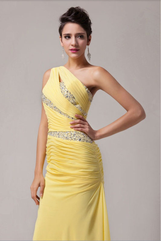 Желтое вечернее платье в пол со шлейфом на шнуровке Grace karin на  выпускной на свадьбу 82e28836ca7