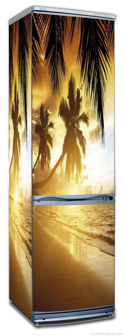 Наклейка на холодильник - Пляж 2