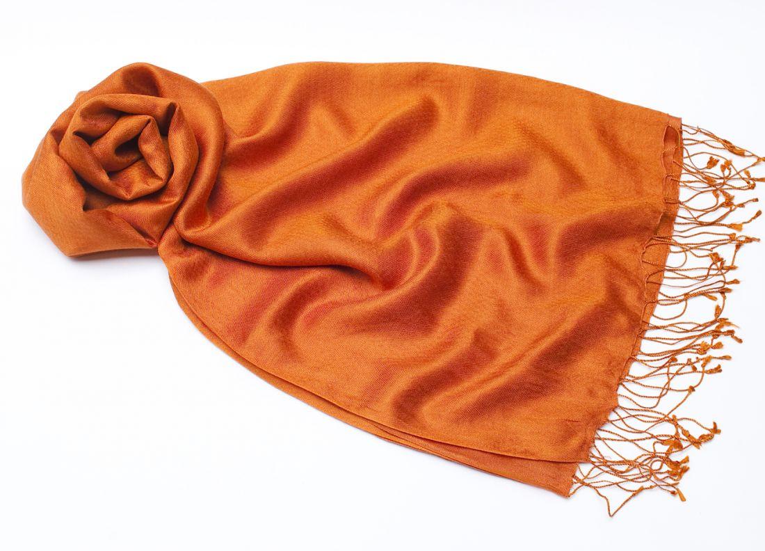 Оранжевый шарф-палантин из шёлка с добавлением шерсти (отправка из Индии)