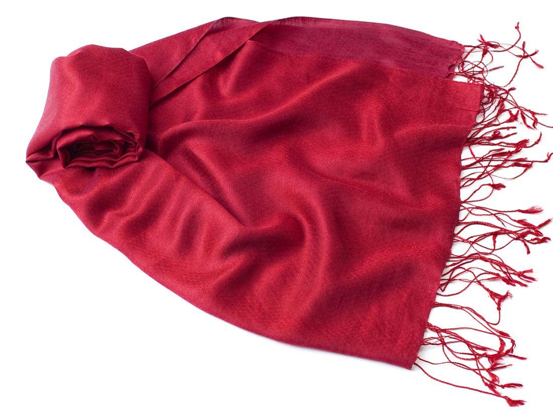Малиновый шарф-палантин из шелка с доб. шерсти (отправка из Индии)