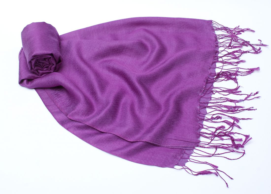 Фиолетовый шарф-палантин из шелка с шерстью (отправка из Индии)