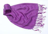 Фиолетовый шелковый шарф с шерстью, 1450 руб.