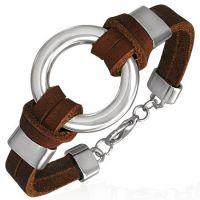 Кожаный браслет со стальным кольцом