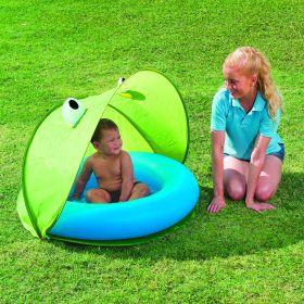 Детский бассейн круглый со съемным тентом и надувным дном для детей от 1-го до 3-х лет (двух-цветный)