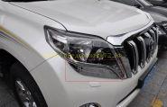 Хромированные накладки под переднею оптику для Toyota Land Cruiser Prado 150 2013 -