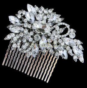 Элегантный позолоченный белым золотом гребень невесты с кристаллами Сваровски