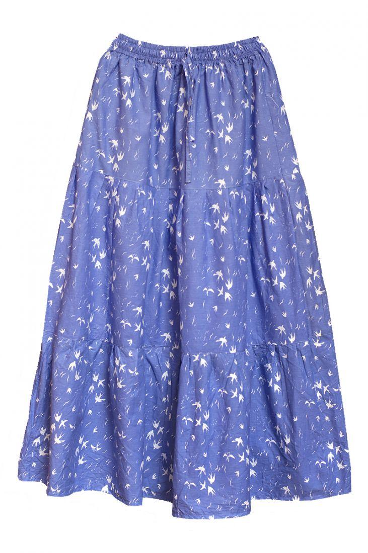 Длинная синяя хлопковая юбка Ласточки (отправка из Индии)