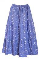 Длинная летняя юбка в пол синего цвета, хлопок