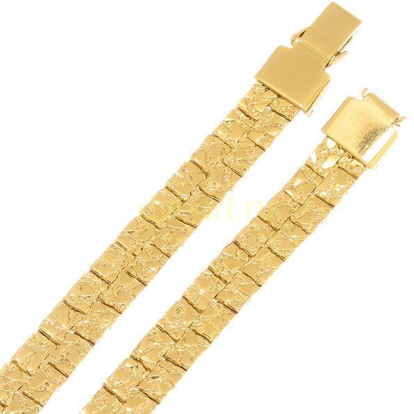 """Стильный позолоченный браслет """"Самородок"""", 7 мм"""