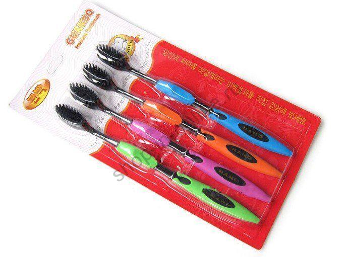 4 бамбуковые зубные щетки с турмалином