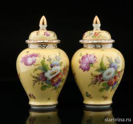 Две желтые вазы, Дрезден, Германия, кон. 19, нач. 20 века., артикул 10595