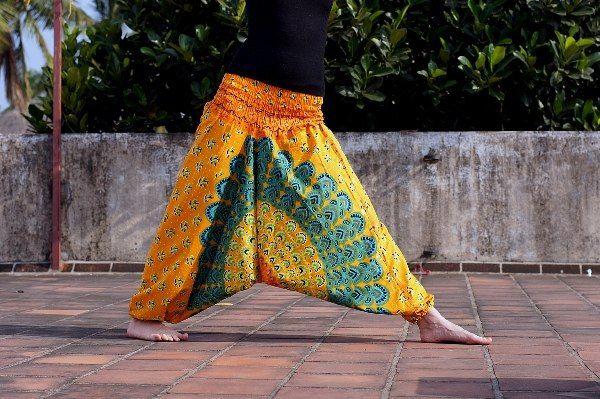 Разные цвета! Индийские штаны с павлином (отправка из Индии) x