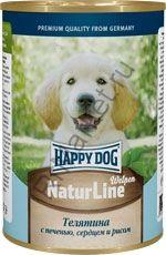 HAPPY DOG Консервы Телятина с печенью, сердцем и рисом 400 гр