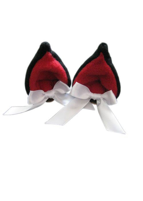 Ушки Japan Awareness Ribbon Kawaii Clip on Cat Ears - (Black/Red)