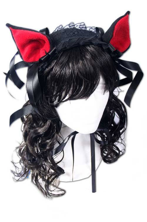 Ушки Dark Sweet Kitty Lolita Headpiece (red/black)