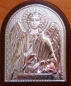 Серебряная икона Ангела Хранителя (7*8,5см., Россия) в дорожном футляре