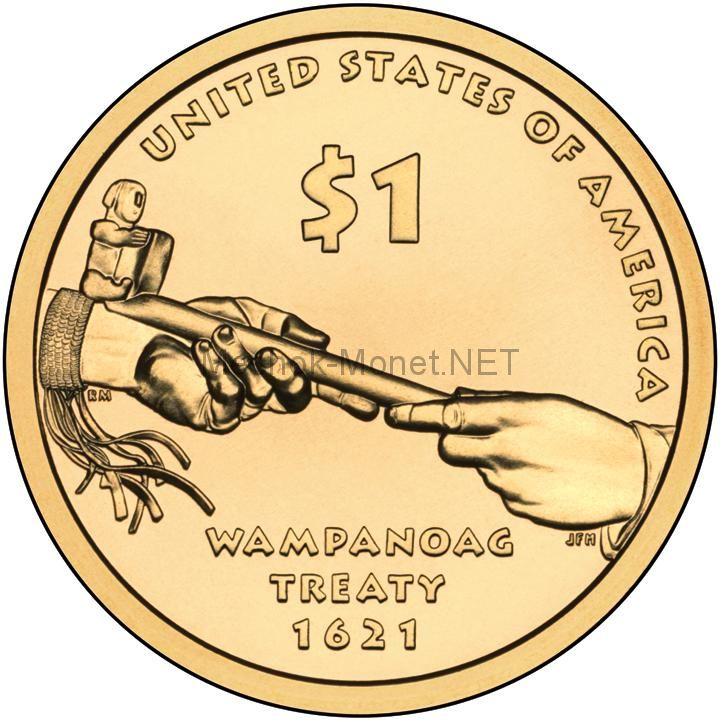 1 доллар США 2011 год Серия Доллар Сакагавеи Договор с Вампаноагами (Трубка мира)
