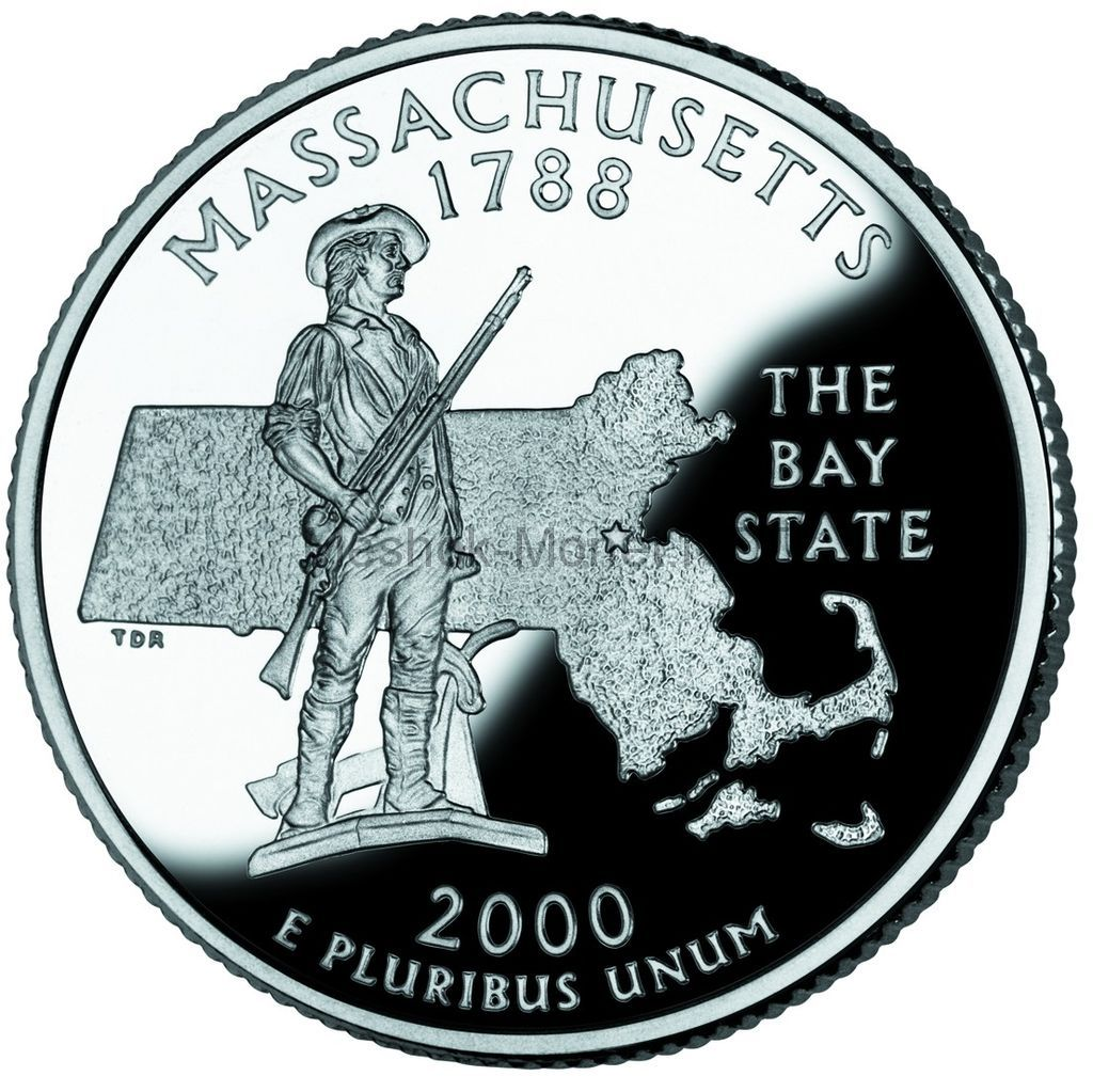 25 центов США 2000 штат Массачусетс