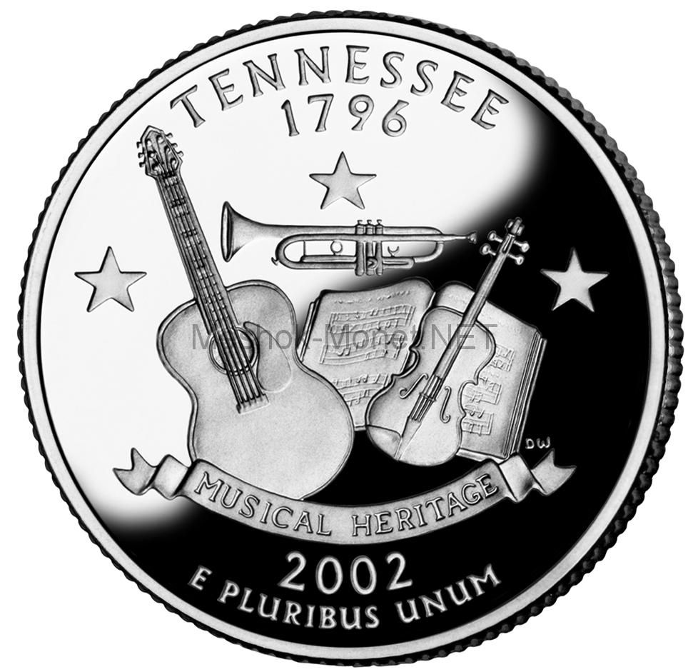 25 центов США 2002 штат Теннесси