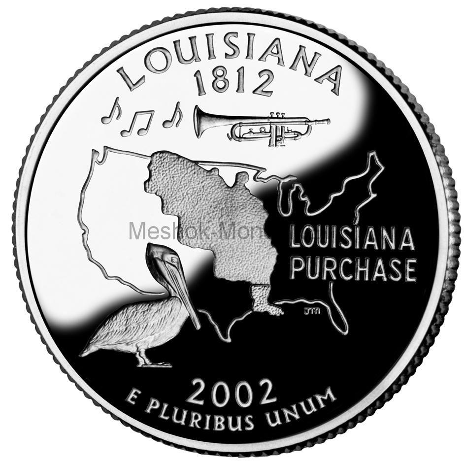 25 центов США 2002 штат Луизиана