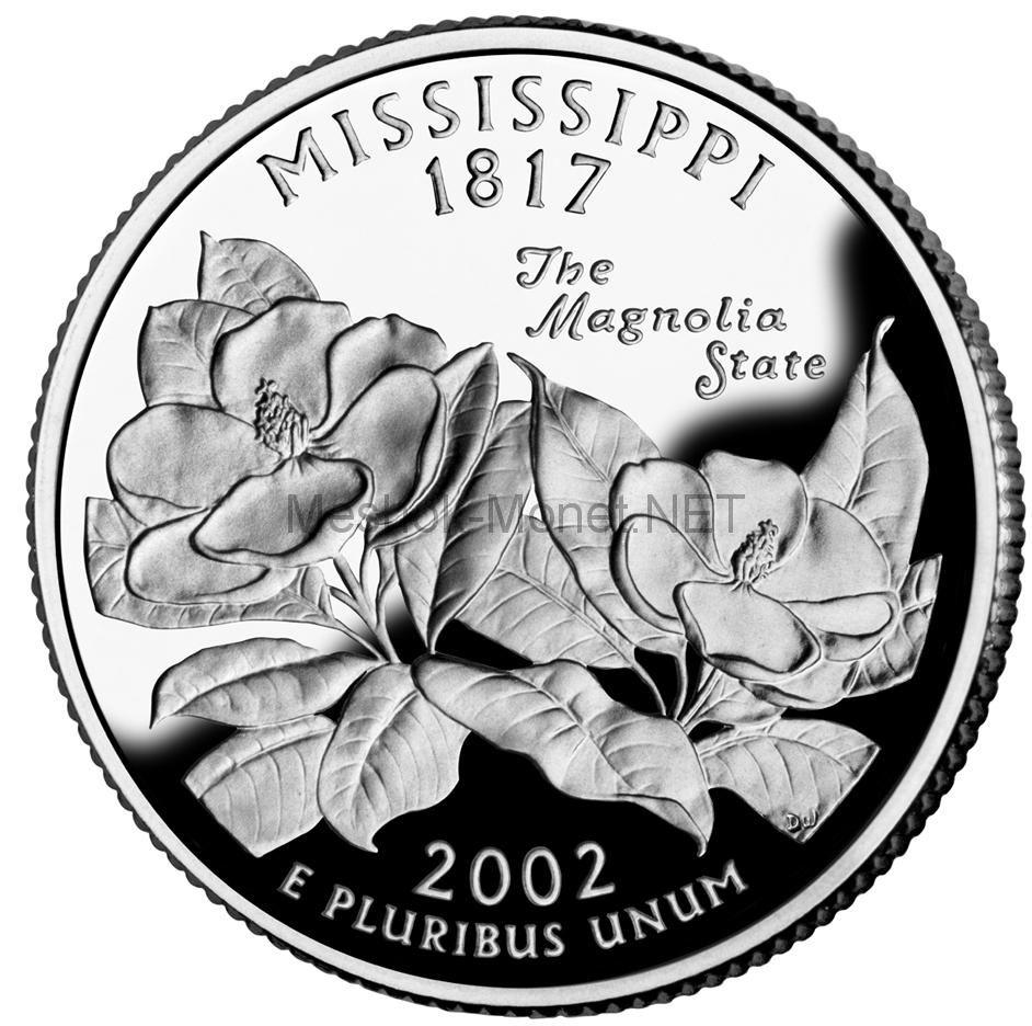 25 центов США 2002 штат Миссисипи