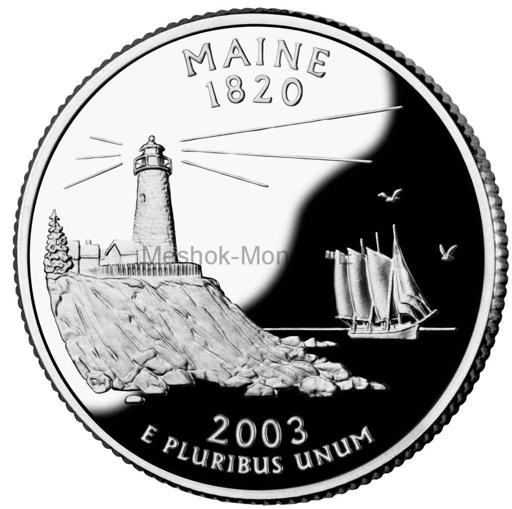 25 центов США 2003 штат Мэн