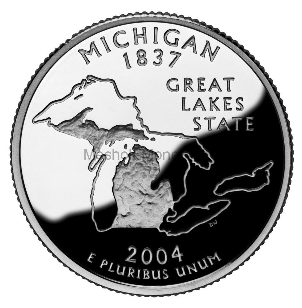 25 центов США 2004 штат Мичиган