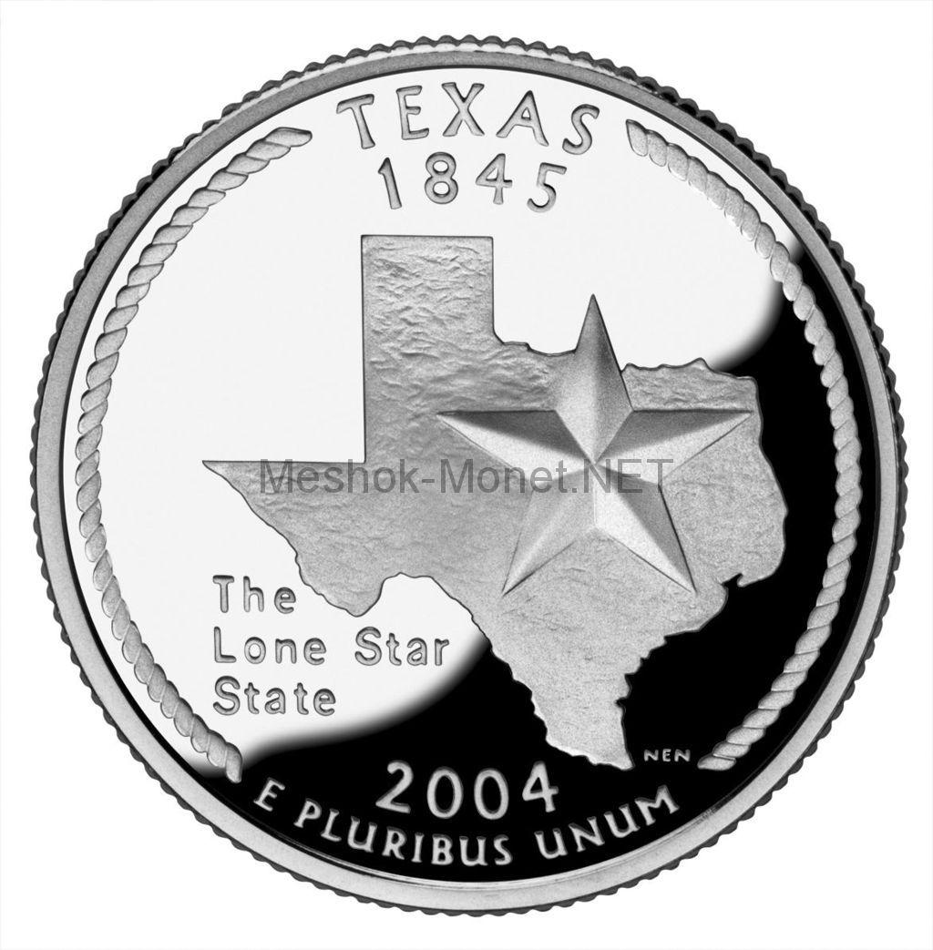25 центов США 2004 штат Техас