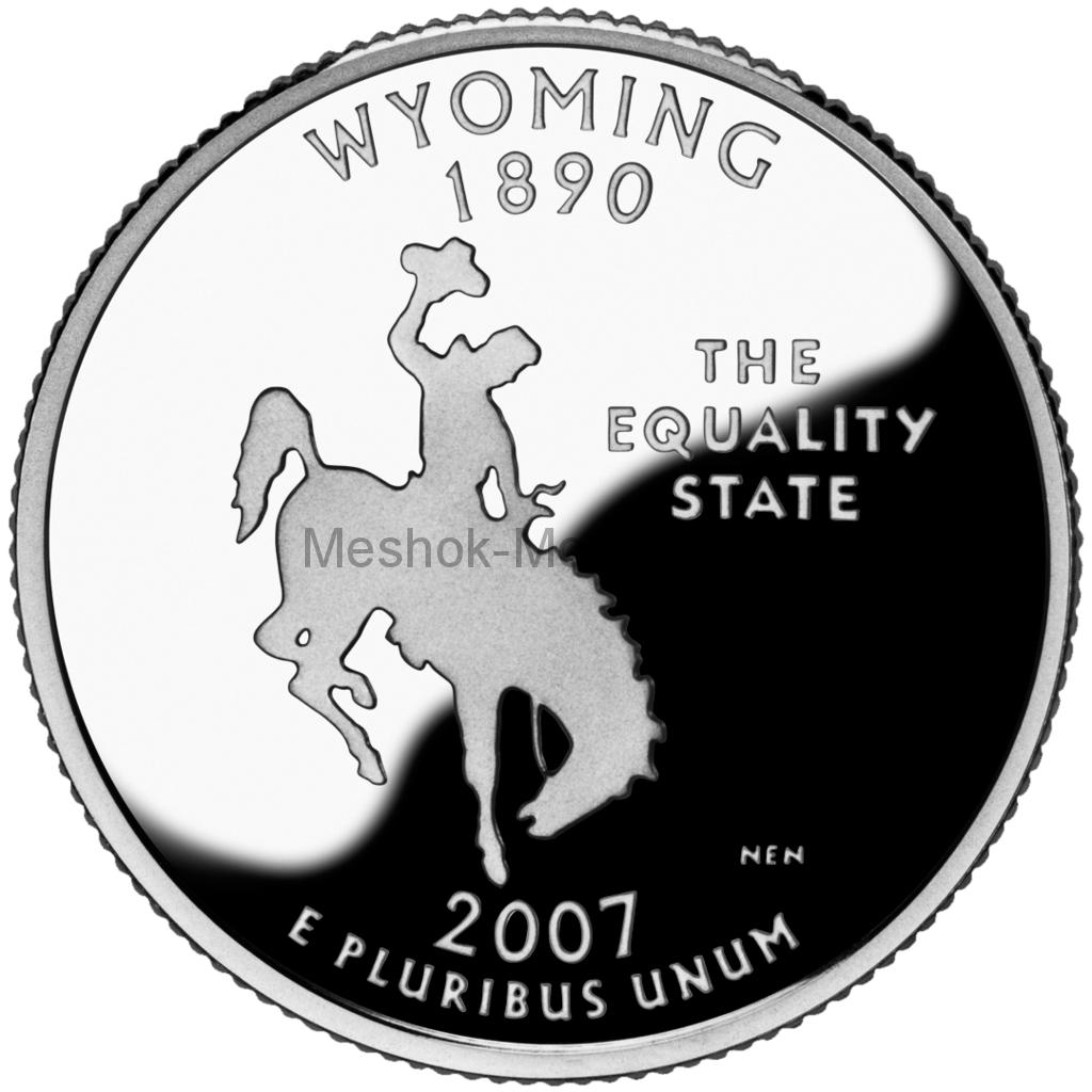 25 центов США 2007 штат Вайоминг