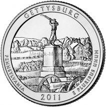 25 центов США 2011 Национальный парк Геттисберг