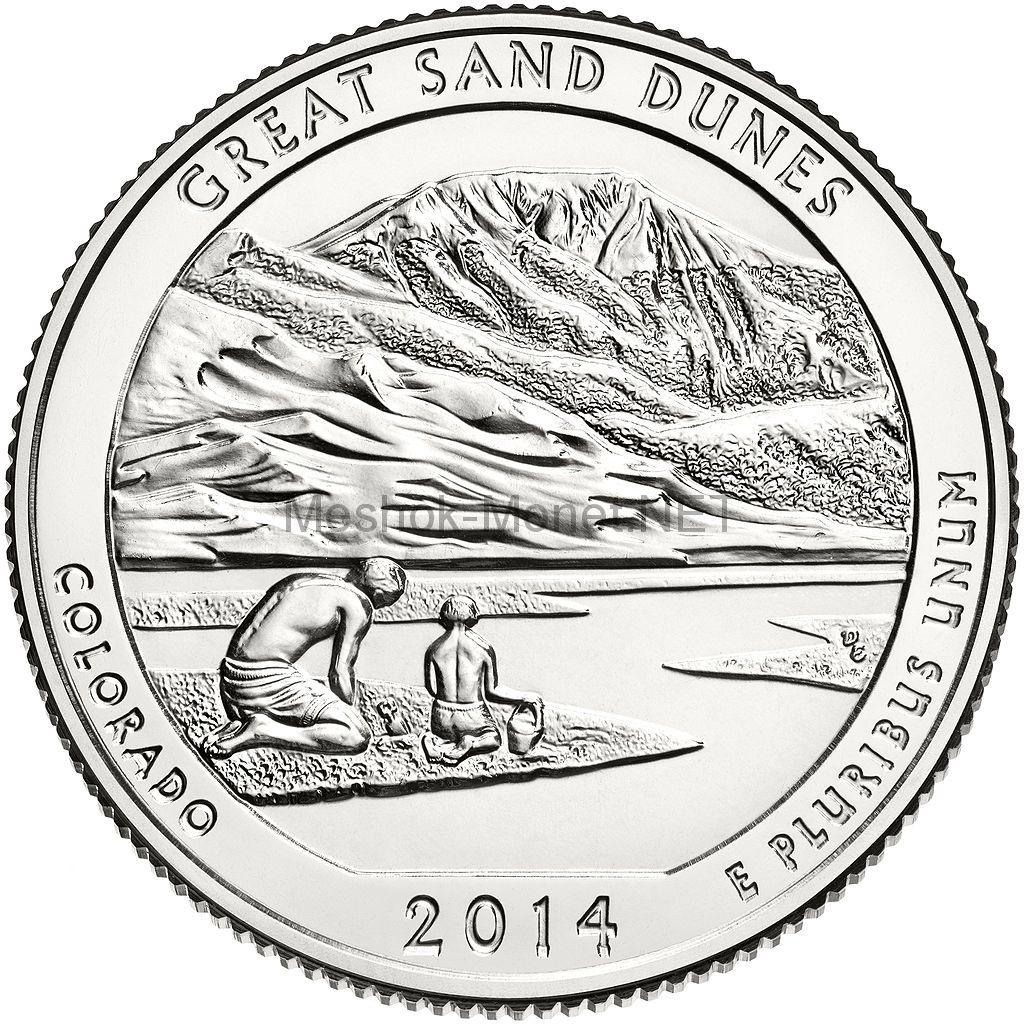 25 центов США 2014 Национальный парк Грейт-Санд-Дьюнс